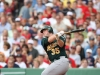 BOSTON, MA - JULY 30:  Landon Powell #35 of the Oakland Athletics swings at a pitch during the game against the Boston Red Sox at Fenway Park on July 30, 2009 in Boston, Massachusetts.  The Red Sox defeated the Athletics 8-5.  (Photo by Michael Zagaris/Getty Images)  *** Local Caption *** Landon Powell